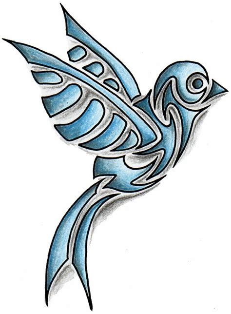 tribal sparrow tattoo coloured tribal bird design tattoodesign