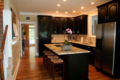 dark cabinets in kitchen simple tips for painting kitchen cabinets black my