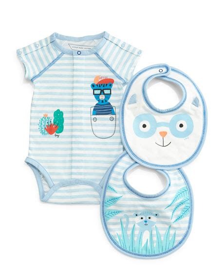 Lil Dot Favor Sleeve Stripe marc striped sleeve playsuit bib gift set size 3 9 months