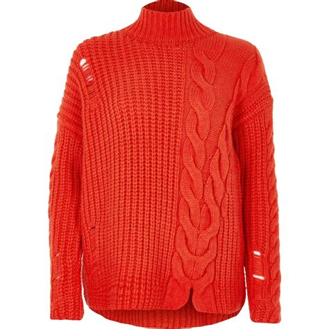 High Neck Cable Knit Sweater bright cable knit high neck sweater knitwear sale