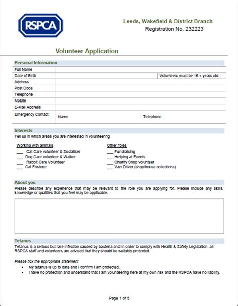 Application Form Icon Rspca Leeds Wakefield And District Branch Registered Charity No 232223 Volunteer Contact Form Template