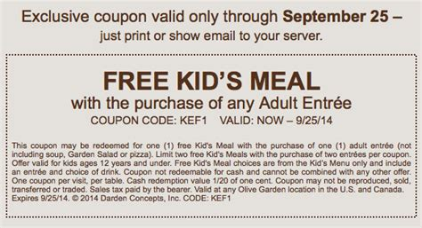 olive garden coupons sept 2014 free kids meal olive garden with purchase