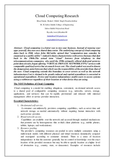 computer research paper the nist definition of cloud computing cloud computing