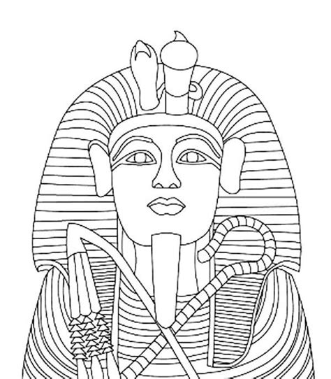 pharaoh crown template king tutankhamen s gold coffin coloring page theme