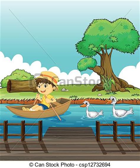 duck boat rides near me eps vectors of a boy riding on a boat followed by ducks