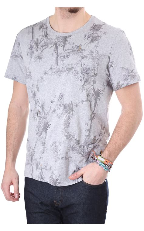 ted baker mens talaton sleeved light grey printed t shirt blueberries