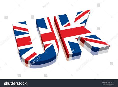 Word Uk 3d Uk Union Flag Stock Vector 389239171