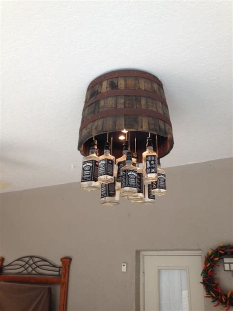 Chandelier Over Table Whiskey Barrel Chandelier