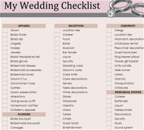 Wedding Checklist Everything You Need by March 2016 Day Weddings