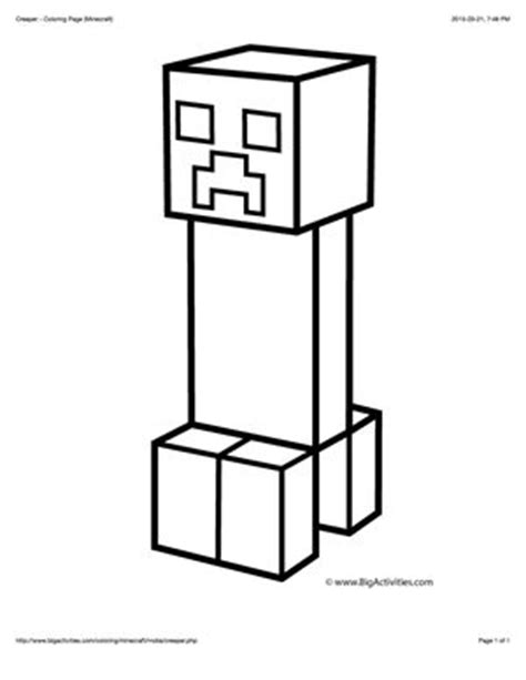 printing in coloring book mode minecraft coloring page with a picture of a creeper to
