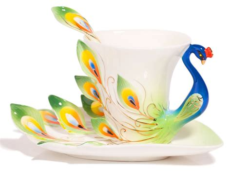 Peacock Coffee crafted peacock tea coffee cup set home designing
