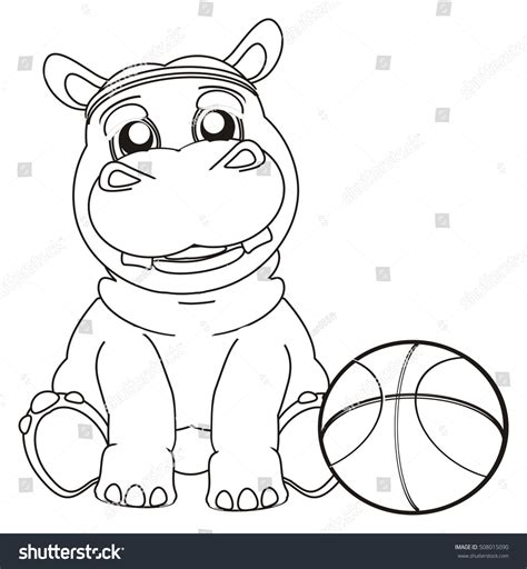funny basketball coloring pages coloring funny hippo basketball stock illustration