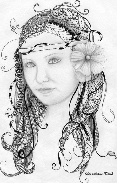 Sketches Zen App by Erin Zentangle Portraits Drawings And
