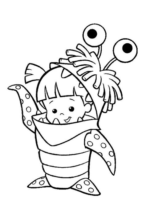coloring page monster inc monsters inc boo in her monster costume in monsters inc