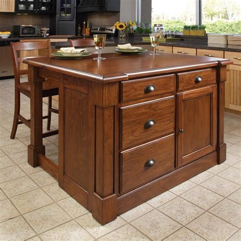 shop home styles brown midcentury kitchen island with 2 stools at lowes com