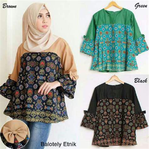 Atasan Wanita Blouse Muslim Syahnaz Motif Lengan Panjang Xl 1 model baju atasan lengan panjang modis motif etnik terbaru