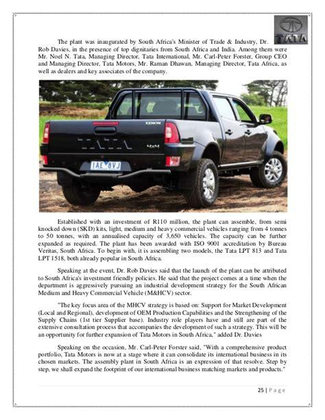 Mba Marketing In Tata Motors by International Marketing Of Tata Motors