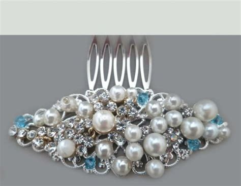 wedding hair accessories blue bridal hair comb pearl blue wedding hair accessories