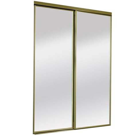 72 Inch Closet Doors Shop Reliabilt Satin Gold Mirrored Sliding Door Common 72 Inx 80 5 In Actual 72 Inx 80