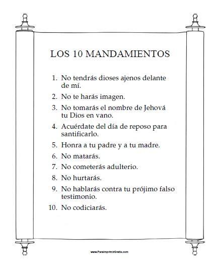 Los Diez Mandamientos Para Nios   10 mandamientos para ninos numeros related keywords 10