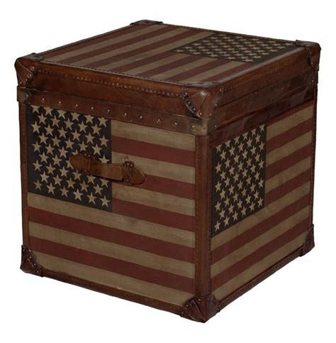 Trunk Side Table And Stripes Modern Industrial Leather Trunk Side End Table Kathy Kuo Home
