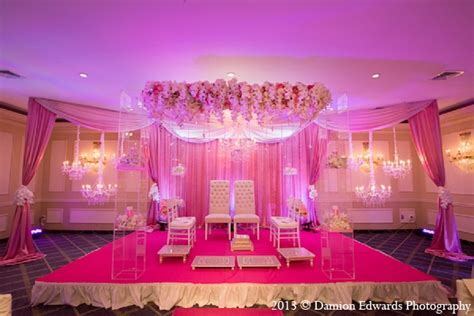 Indian wedding mandap decor pink floral in Rockleigh, New