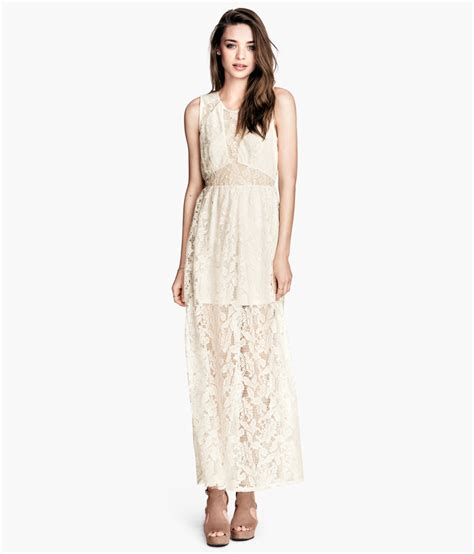 Hm Dress lyst h m lace maxi dress in white