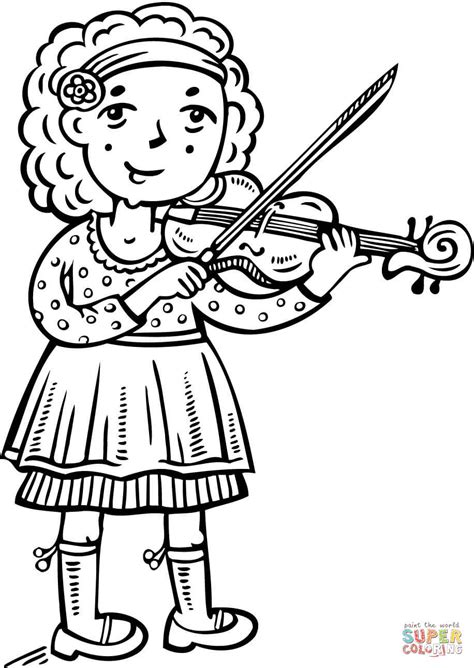 coloring page girl playing piano girl playing violin coloring pages school page outline