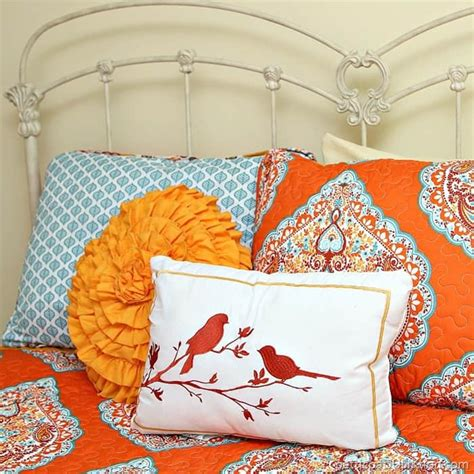 bargain bedding bargain burlap and turquoise and orange gets me every time