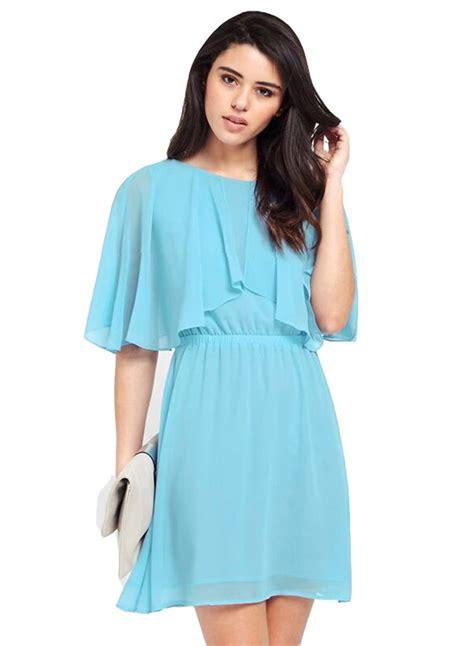 s solid half sleeve chiffon dress achicgirl