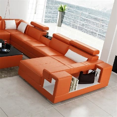 Orange Leather Sofa And Loveseat by Divani Casa 6138 Modern Orange And White Leather Sectional