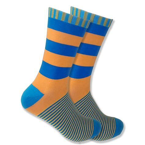 Stripe Socks s orange blue striped socks with green highlights