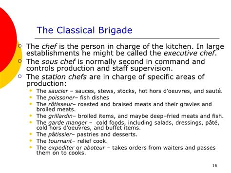 Classical Kitchen Brigade by The Food Service Industry