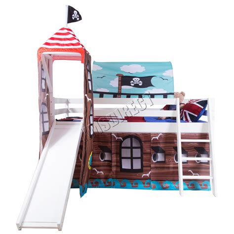 Bunk Beds With Tents And Slides Foxhunter Wood Mid Sleeper Cabin Bunk Bed Tent Slide 3ft White Frame Pirate Ebay