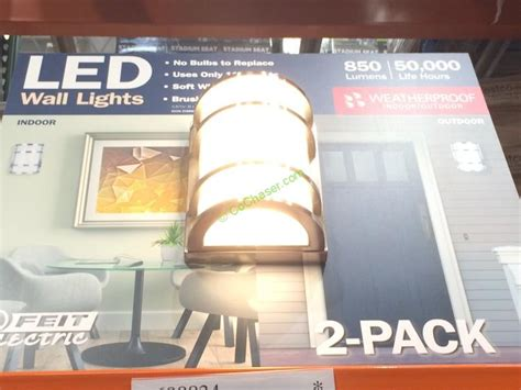 costco indoor outdoor lights feit electric led wall sconce indoor outdoor 2 pack