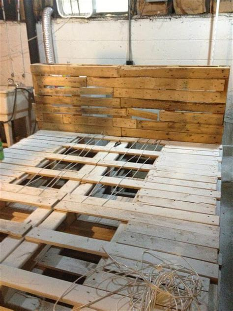 diy size pallet bed frame diy size pallet bed with headboard 99 pallets