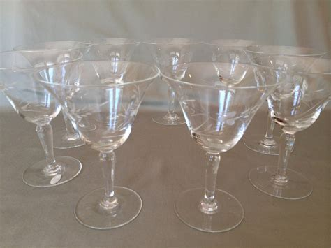 etched barware etched wine glasses vintage 1940s etched glassware set of 9