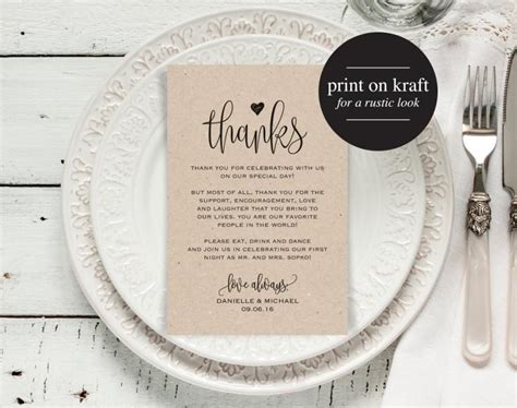 Wedding Thank You Place Card Template by Wedding Thank You Cards Thank You Printable Editable