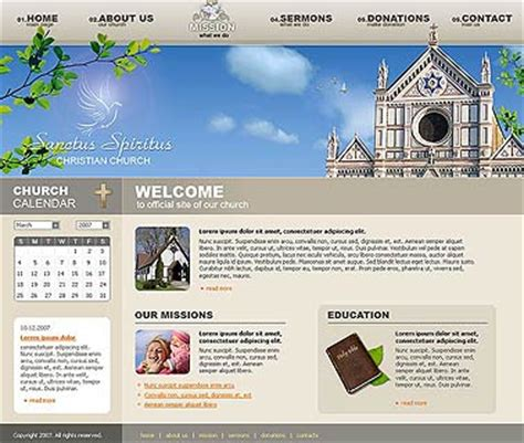 Church Web Templates by Church Website Template Best Website Templates