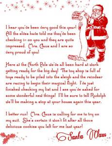 letter from santa printable free on the