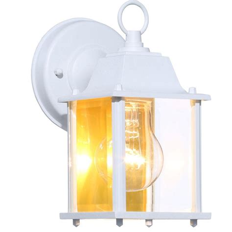 white outdoor wall lantern hton bay 1 light white outdoor wall lantern bpm1691 wht