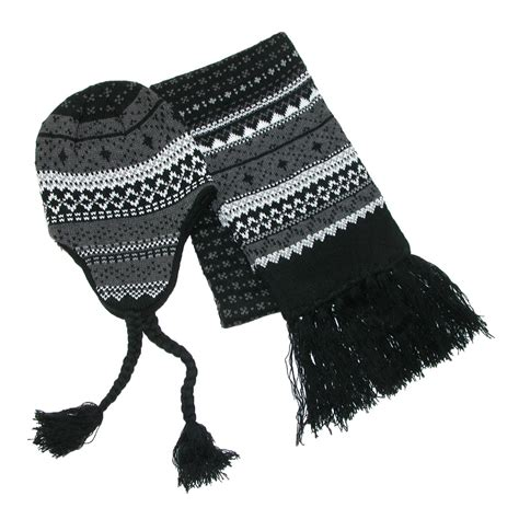 knit peruvian hat and scarf winter set by ctm 174 scarves
