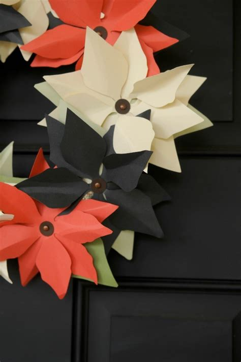Paper Poinsettia Craft - diy paper poinsettia wreath