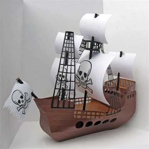 How To Make A 3d Ship Out Of Paper - pirate ship template