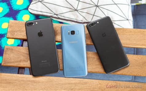oneplus 5 vs galaxy s8 vs iphone 7 plus gsmarena tests