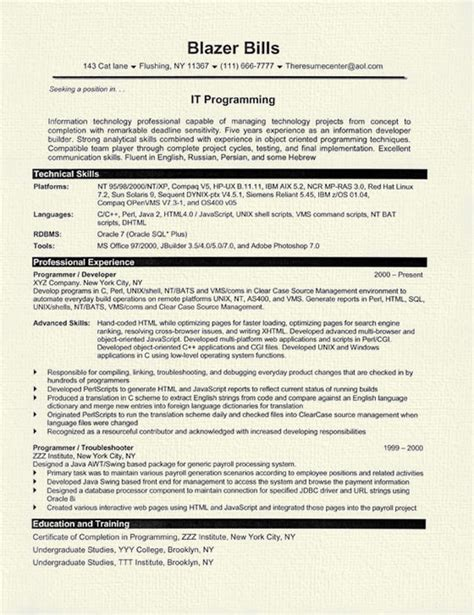 Computer Programmer Resume by Computer Programmer Resume Exle