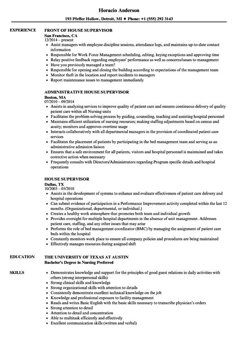 house supervisor salary house supervisor resume sles velvet jobs