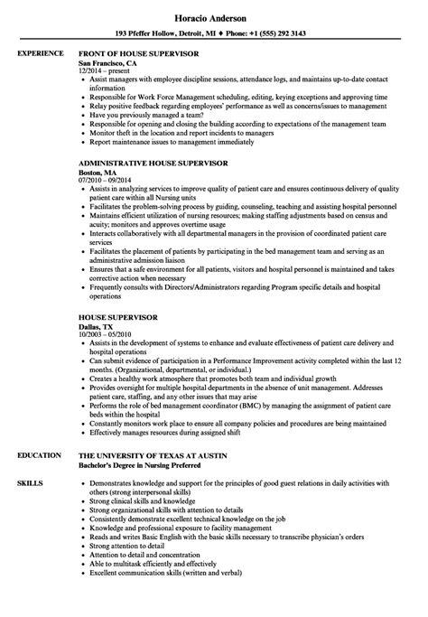 house supervisor salary house supervisor resume sles velvet jobs