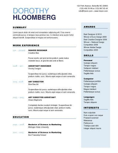 Two Column Resume by 22 Contemporary Resume Templates Free