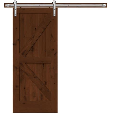 Steves Sons 36 In X 84 In Rustic 2 Panel Stained Barn Door Interior Hardware